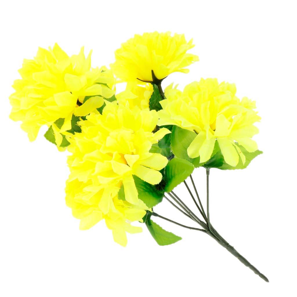P Prettyia Ramo de Flores de Crisantemo Artificial Cementerio de Seda Adorno para Hogar Suministro de Envoltorio Reserva de Fiesta – Blanco, como se Describe