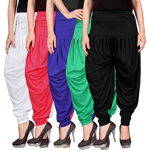 Culture the Dignity Women's Lycra Dhoti Patiala Salwar Harem Pants CTD_00WPB1GB_2-WHITE-PINK-BLUE-GREEN-BLACK-FREESIZE -Combo...