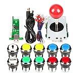 Clásicos Arcade DIY Kits USB Encoder para PC Joystick + 8 maneras Stick + Chrome plateado LED pulsador iluminado 1 Player & Coin Buttons para Arcade Mame Raspberry Pi 2 3 3B Games