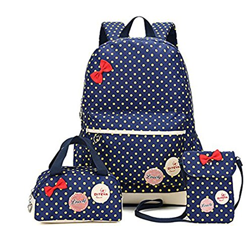 LAAT Kinder Schultasche Polka Dot Muster Kids School Rucksack Kleine Handtasche Geldbörse für Mädchen Teen 3pcs (Dunkelblau) (Kleine Dot Polka)