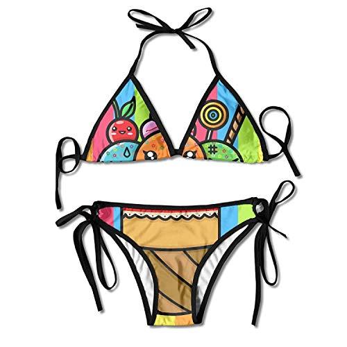 Kawaii Three Scoop Rainbow Colorful Ice Cream Bikini Women's Summer Swimwear Triangle Top Bikinis Swimsuit Sexy 2-Piece Set Craft Ice Cream Scoop