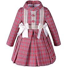 Lajinirr - Vestido - Cuadrados - Manga Larga - para niña Rojo rosso M
