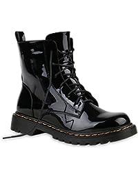 Gefütterte Damen Worker Boots Lack Grunge Punk Stiefeletten