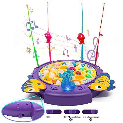Angeln Spielzeug Party Musik Spiele mit 21 Fische und 4 Ruten Eltern-Kind-Unterhaltungs-Lebenssimulations Angelspiel für Kinder ab 3 4 5 6 Jahren