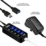 Atolla 4 ports USB 3.0 Hub SuperSpeed Data Transmission with On Off Switch + 1 Charging Port with 15W(5V/3A) Powered Supply Adapter and 1M USB 3 Extension Cable
