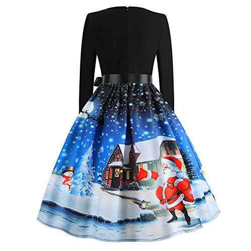 TIFIY Damen Weihnachtskleid, Frauen Langarm Druck Vintage Kleid Party Clubbing eleganten Kleid Rock Swing Kleid Abendkleider(A_i,EU:34)