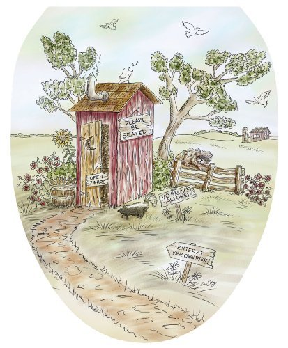 Toilet Tattoos TT-LS03-O Lori's Outhouse Decorative Applique for Toilet Lid, Elongated by Toilet Tattoos