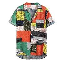 Lazzboy Men Shirt Top Plus Size Multicoloured Colour Print Plus Size Graffiti Short Sleeve Buttons Loose Blouse(M,Orange-Geometric Dots)