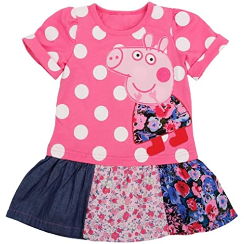 Peppa Pig Vestido de niña niños túnica manga corta, parches