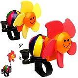 alles-meine GmbH Fahrradklingel mit Windmühle -  Blume - bunter Farbmix  - mit coolem Effekt - UNIVERSAL Klingel für Das Fahrrad - stabiles Metall - Windrad dreht Sich im FA..