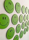 20 grüne lachende Smiley Magnete Ø 2cm / z.B. für Präsentationen, Schulungen, Projektarbeit, Unterricht.