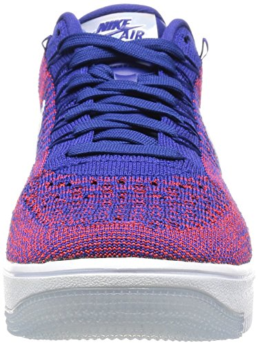 Nike Af1 Ultra Flyknit Low Prm, Chaussures de Sport-Basketball Homme Rojo (Gym Red / Deep Royal Blue-White)