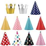 UEETEK Cappello da Festa Cake Birthday Party Cono Cappelli di Carta con Disegni Colorati per Animali Domestici Cani Gatti