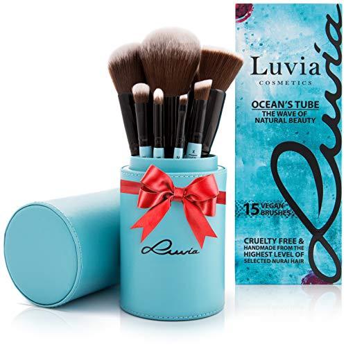 Pinselset Von Luvia, Beauty Make-Up Pinsel-Set Ocean's Tube, Inkl. 15 Schminkpinsel & Pinselhalter In Blau