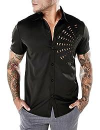 ZIYOU Herren Hohl Kurzarm Hemden Slim Fit Freizeithemd Männer Button Down  T-shirt Hemd Für Anzug, Business,… c34b028e8f