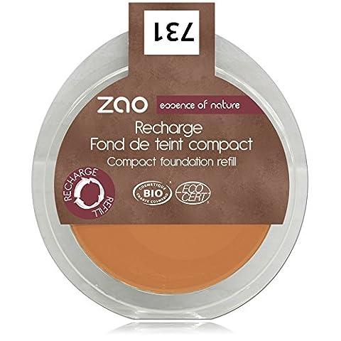 ZAO REFILL Compact Foundation 731 apricot beige-orange Kompakt-Makeup-Nachfüller (Grundierung) (bio, Ecocert, Cosmebio, (Olive Creme Foundation)
