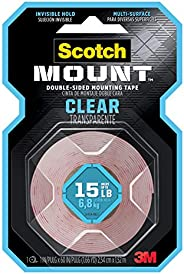 Scotch Mount Double Sided Mounting Tape, 410 H, Clear, 15 LB