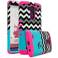 LG G3 case, BASTEX Heavy Duty custodia protettiva – morbida cover in silicone rosa con cielo blu chevron Love Anchor design hard shell per LG G3