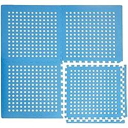 EYEPOWER Tapis Puzzle perforé avec Trous Drainage Eau pour Piscine Douche EVA 1cm d'épaisseur Moelleux antidérapante imperméable Extensible Bleu
