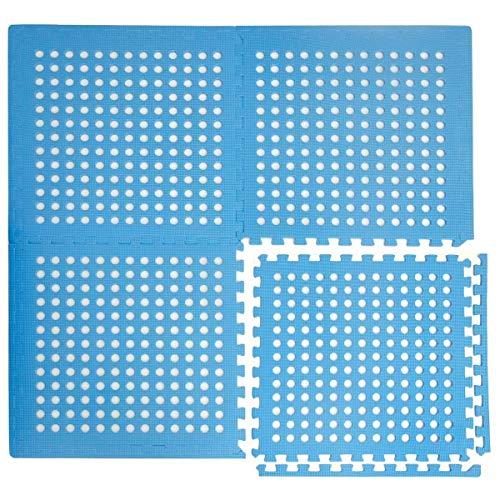 Eyepower 1cm Dicke Poolmatte Bodenmatte 1,59qm Bodenfolie Bodenfliese Unterlage für Pool Robustes Stecksystem mit Lüftung Rutschfest Blau
