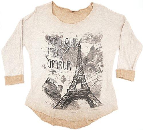 Damen Italy Vintage Langarmshirt Eifelturm Paris Print Glitzer Strass Schrift Bonjour mon Amour M L 38 40 42 (8465) Beige