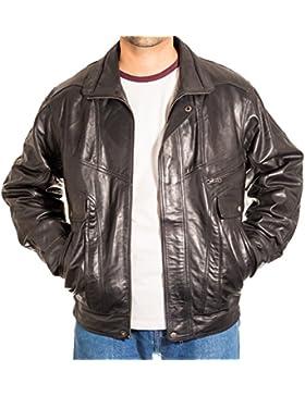 Chaqueta de bombardero retro cl‡sica de la blusa del vintage de cuero para hombre