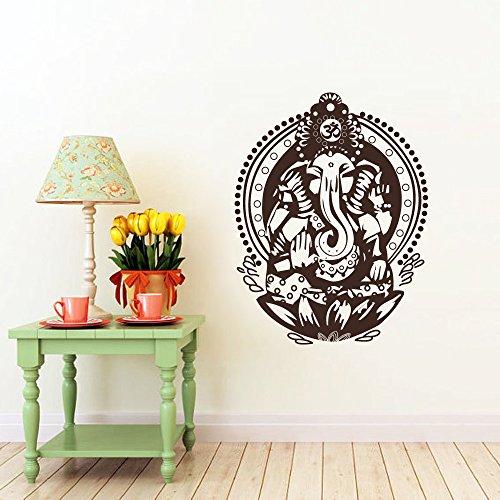 """Signore Ganesha elefante di successo a mano indù Dio Buddha India Ganesh da parete in vinile adesivo di arredamento camera da letto, Vinile, Black, 22""""h x17""""w"""