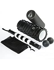 TeamSoda Fitness Massage-Set: 2 in 1 Faszienroller + doppelter Lacrosse Massageball + Massage Roller Stick
