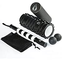 TeamSoda Fitness 2-in-1 Foam Roller + Double-Lacrosse Trigger Point Massage Ball + Muscle Roller Massage Stick & Carry Bag