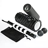 TeamSoda Fitness Massage-Set: 2 in 1 Faszienrolle + Doppelter Lacrosse Massageball + Massage Roller Stick