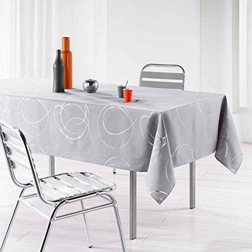 L'Harmonie du décor Nappe Imprimé Argent Bully Polyester Perle 150 x 240 cm