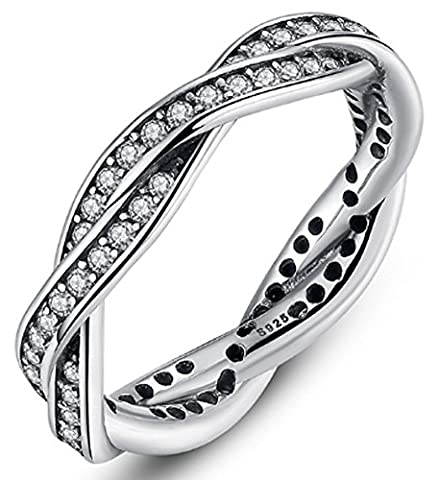 SaySure - 925 Sterling Silver Rings With Full Crystal (SIZE : 6)