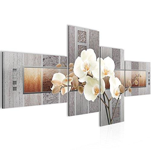 Bilder Blumen Orchidee Wandbild Vlies - Leinwand Bild XXL Format Wandbilder Wohnzimmer Wohnung Deko Kunstdrucke 100 x 50 cm Blau 4 Teilig -100% MADE IN GERMANY - Fertig zum Aufhängen 204642a (Von Bilder Orchideen)