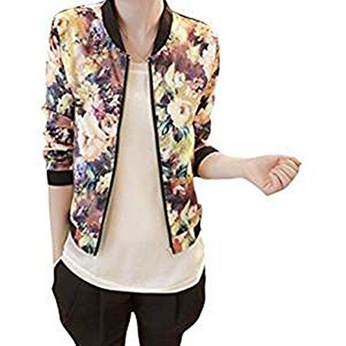 Damen Jacken, GJKK Damen Herbst Frühling Kurzjacke Sportwear Blumendruck mit Stehkragen Reißverschluss Slim Fit Bomberjacke Jacke(S-XXL)...