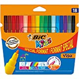 BIC Kids Visa Feutres de Coloriage à Pointe Fine - Couleurs Assorties, Etui Carton de 15+3