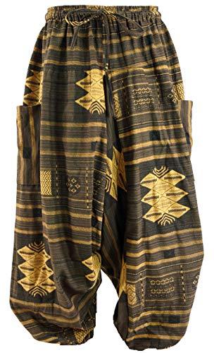 Guru-Shop Haremshose, Pluderhose, Pumphose, Aladinhose Ikat, Herren, Coffee, Baumwolle, Size:52, Hosen Alternative Bekleidung