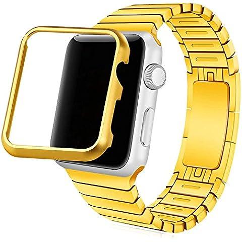 Cinturino Apple Watch, Bandmax Placcato Oro Link Bracciale 42MM in Acciaio con Chiusura a Farfalla Banda Strap Band per Apple Watch Series 1/ Series 2 42MM Tutti i Modelli (Oro) - 4 Link Bracciale In Oro