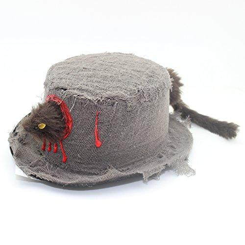 Grusel Hut mit Ratten Kopf und Schwanz Halloween (Kopf Kostüm Kürbis Geist)