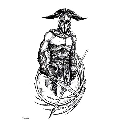 ruofengpuzi Römische Gladiator wasserdichte Tätowierung-Körper-Kunst-Tätowierung-Aufkleber-Temporäre Tätowierung Sleeves Tattoo Krieger Falsch