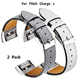 Xnature Fitbit Charge 2 Armband Leder Fitbit Charge 2 Fitbit Armbänder Charge 2 (Grau + Weiß)