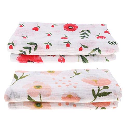 Sharplace 2er Set Mulltuch Mulltücher Spucktücher 110 x 110 Pucktuch Babydecke Stoffwindel Swaddle Decke Tücher für Baby Jungen Mädchen - Blume und Kirschblüte