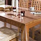 #7: Yellow Weaves PVC Transparent Clear Dining Table Cover Tablecloth Waterproof Protector, 4-6 seater, 54 X 78 Inches Rectangle(without laced edges)