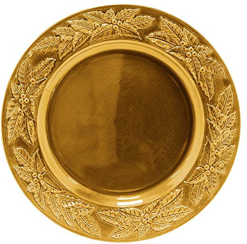 Palais Dinnerware 'Plaque De Charge' Collection - 33 cm elegante Platzteller Gold Poinsettia Design (Gold Ladegeräte Billig)