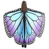 Lnefehsh Disfraz de Alas de Mariposa para Mujer,Lenfesh Adulto Mariposa Alas Chal Hada duendecillo Cosplay Capa Disfraces (168x135CM, Azul #2)