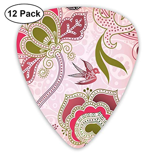 Guitar Picks - Abstract Art Colorful Designs,Ethnic Asian Floral With Scroll Swirl Leaf Lines Boho Artwork,Unique Guitar Gift,For Bass Electric & Acoustic Guitars-12 Pack -