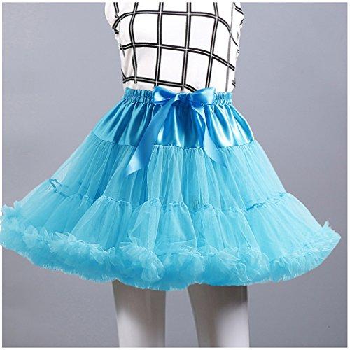 Pettiskirt Damen Kurz Petticoat Tüll Ballett Tanzrock Tutu Rock Unterröcke Blau
