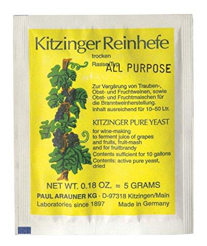 WEINHEFE UNIVERSAL Arauner Kitzinger – Trocken Reinhefe für 50L | Naturhefe | Obstwein hefe |...