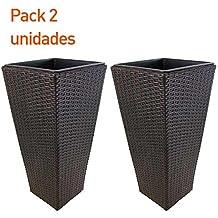 Pack 2 macetas para jardín en color marrón de 60 cm de altura - Portes gratis
