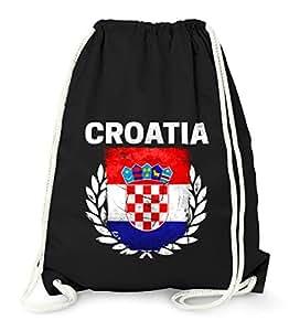 Turnbeutel – Fußball EM 2016 Croatia Kroatien Flagge Vintage – Gym Bag Moonworks® schwarz unisize