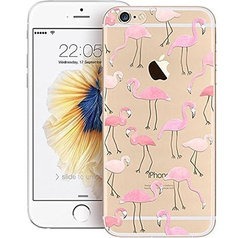 Bestsky Coque/bumper souple ultra fin pour iPhone 7/7Plus en TPU/gel silicone avec protection d'écran en verre trempé - Ajustement parfait - Transparent avec adorables motifs
